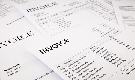 close-up difference invoices and bills, document and paperwork Imagens