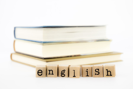 closeup english wording and books. english for foreigner, tutorial and learning concept and idea.