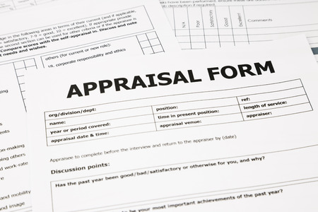 closeup appraisal form and paperwork, evaluation and assessment concept for business