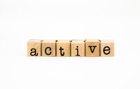 zealous: closeup active wording isolate on white background