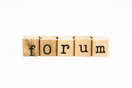 wording: closeup forum wording isolate on white background, business and education concept