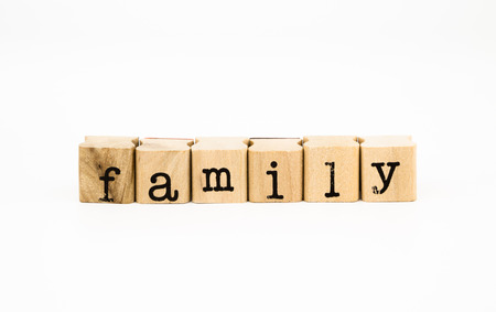 wording: closeup family wording isolate on white background, relatives concept and idea