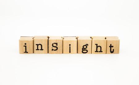 クローズ アップ洞察力言葉遣い分離ホワイト バック グラウンド、知性と知識の概念とアイデア 写真素材