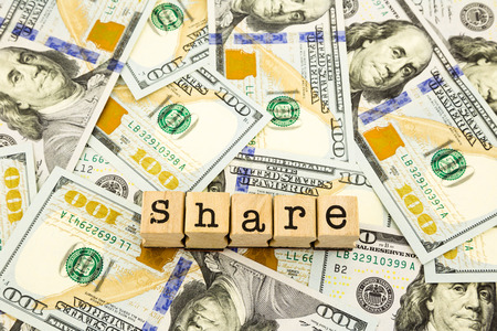 stockholder: new edition 100 dollar banknotes, money and currency for share and donation concept Stock Photo