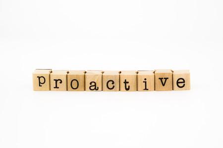 proactive: closeup proactive wording isolate on white background