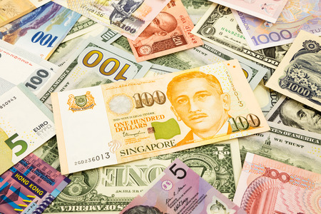 singapore  and world currency money banknote, business and  financial concept