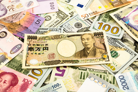 japan and world currency money banknote, business and  financial concept