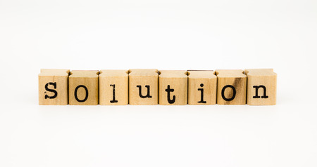 amend: closeup solution wording isolate on white background