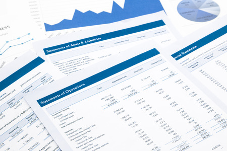 statements of operations, business report and paperwork Banque d'images