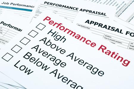 クローズ アップのパフォーマンス評価および評価フォーム、評価、評価概念ビジネス 写真素材