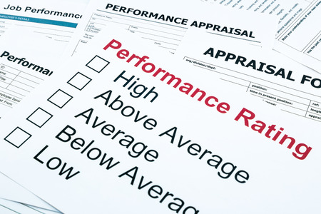reviews: closeup performance rating and appraisal form, evaluation and assessment concept for business