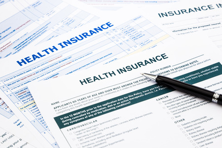 건강 보험 양식, 보험 개념에 대한 서류 및 설문 조사