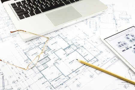 plan view: house blueprints and floor plan with notebook, architecture business concepts and ideas
