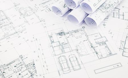 blauwdrukken en huis plan, business concepten en ideeën Stockfoto