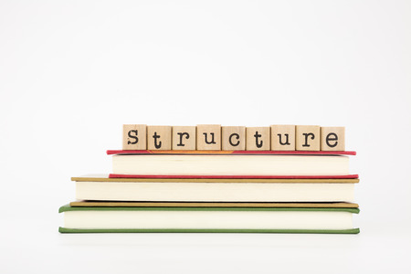 thesis: structure word on wood stamps stack on books Stock Photo