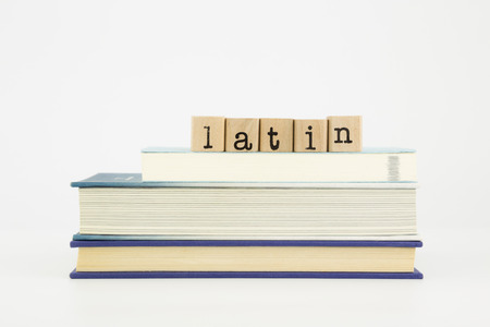 latin word on wood stamps stack on books, language and study concept