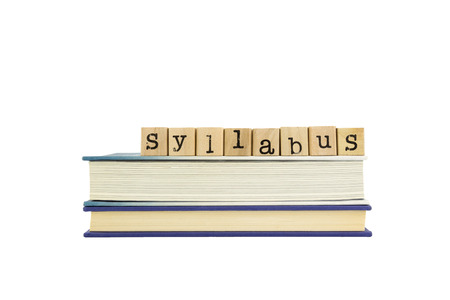syllabus word on wood stamps stack on books