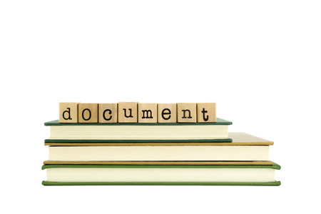 articles: document word on wood stamps stack on books