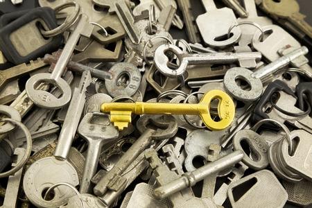 closeup gouden loper en oude metalen toetsen, oplossing en strategie concepten voor het bedrijfsleven