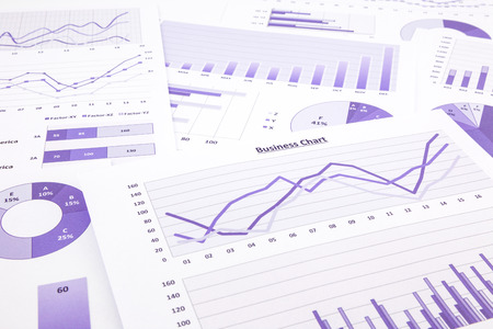 conclude: purple graphs, charts, data and report summarizing for marketing research, management budget and planning business project