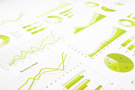 green graphs, charts, marketing research and  business annual report background, management project, and financial planning concepts