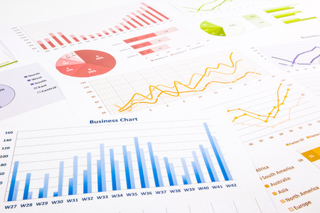 colorful graphs, charts, marketing research and  business annual report background, management project,  budget planning,  financial and education concepts Stock Photo
