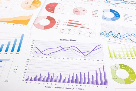colorful graphs, data analysis, marketing research and annual report background, concept for success business, management project,  budget planning, financial growth and education