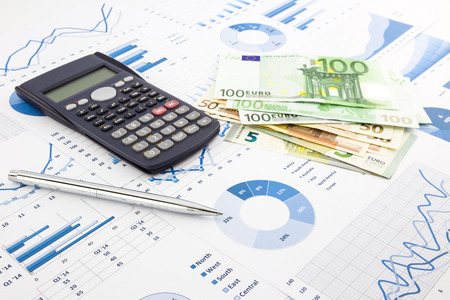 europe currency on financial charts, expense cash flow summarizing and graphs background, concepts for saving money, budget management, stock exchange, investment and business income report
