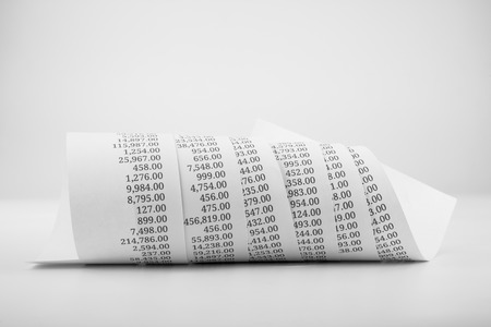 printed paper roll for accounting concept in black and white tone