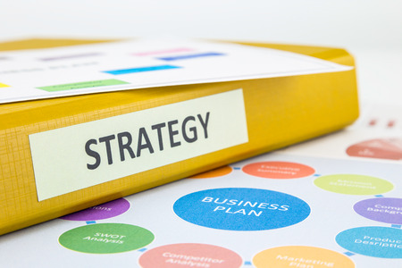 Binder of strategy documents with business plan and SWOT analysis photo