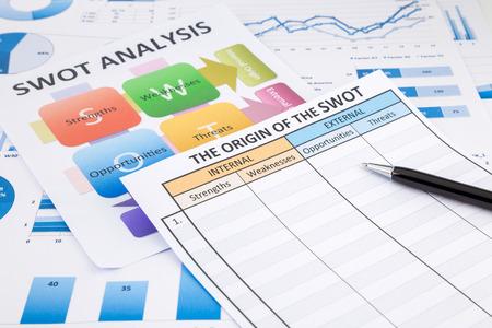 foda: Forma en blanco del análisis FODA, la carta de colores, gráficos y documentos de marketing y negocios