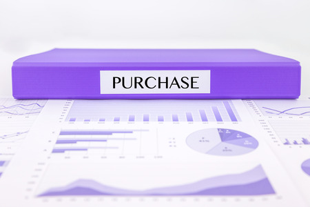 procurement: Purple document binder with PURCHASE word place on graph analysis and  budget plan