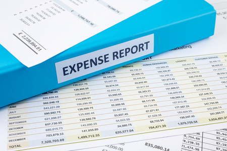 Blue document binder with Expense Report word place on financial reports