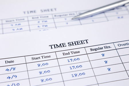Record working times focus on time sheet word