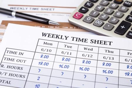 시간 시트 문서에 기록 작업 시간