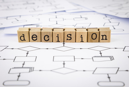 process flow: Decision word on rubber wood stamps place on blank analysis process flow charts