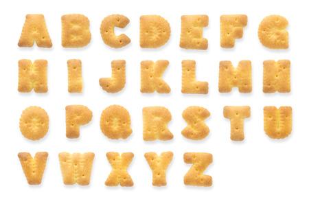 galletas: Collage de 26 aislados cartas de galletas galleta. Juego completo de Inglés alfabeto en mayúsculas o signo texto de capital.