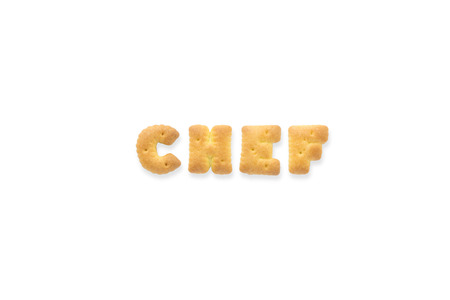collage alphabet: Collage of the capital letters word CHEF. Alphabet cookie biscuits isolated on white background
