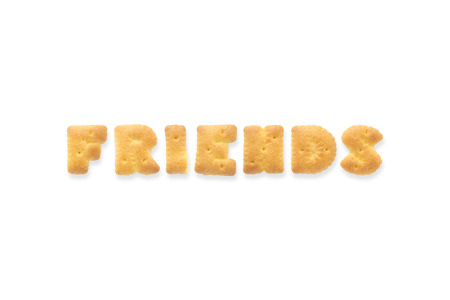 collage alphabet: Collage of text word FRIENDS. Alphabet biscuit cracker isolated on white background