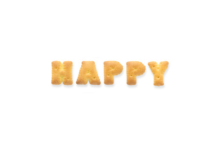 collage alphabet: Collage of the uppercase letterword HAPPY. Alphabet cookie biscuits isolated on white background