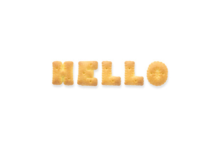 uppercase: Collage of the uppercase letterword HELLO. Alphabet cookie biscuits isolated on white background