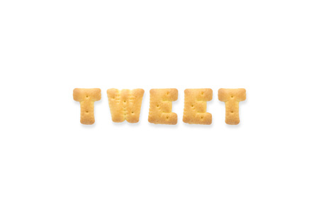 tweet: Collage of text word TWEET . Alphabet biscuit cracker isolated on white background Stock Photo