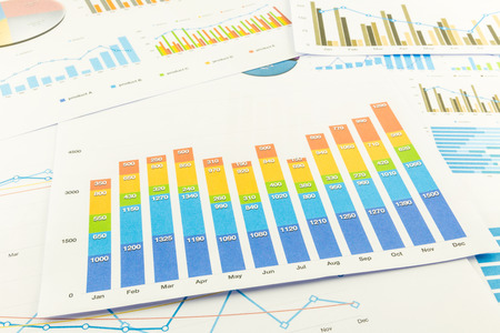 Colourful bar graph with numbers analysis charts and documents. Business annual reports and marketing research. 版權商用圖片