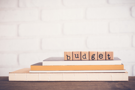 The word Budget, alphabet on wooden rubber stamps on top of books and table. Bricks background, blank copy space, vintage and minimal style. Estimate and forecast, financial and marketing management.