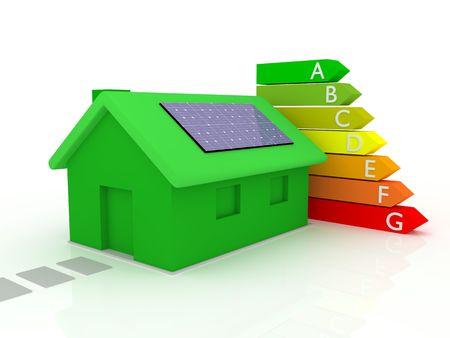 ahorro energetico: Casa con calificaci�n de eficiencia de energ�a  Foto de archivo