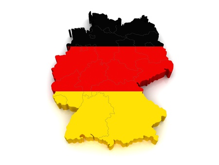 bandera alemania: Mapa 3D de Alemania