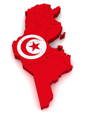 3D Map of Tunisia Stock Photo - 8942028