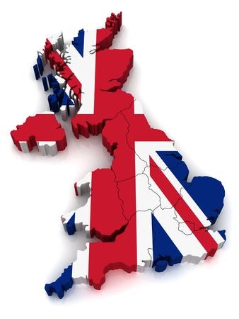 bandera de gran bretaña: Mapa 3D de Reino Unido Foto de archivo