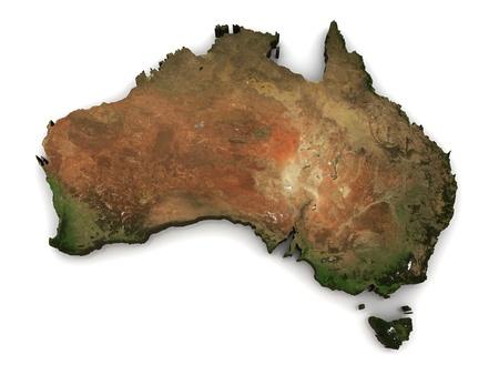 topografia: Australia 3D (topograf�a mapa viene de earthobervatorynasa) Foto de archivo