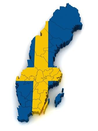 schweden flagge: 3D Karte von Schweden